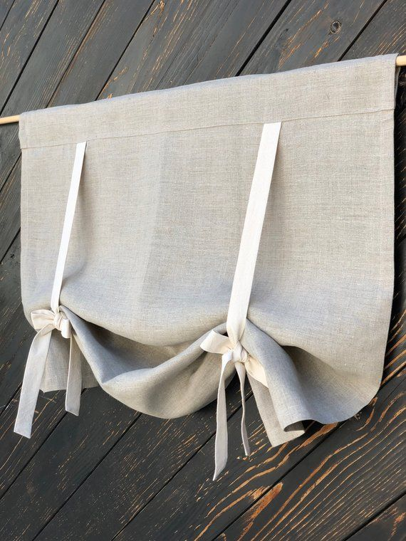 Linen Curtains Country Kitchen Tie Up Valance Rustic