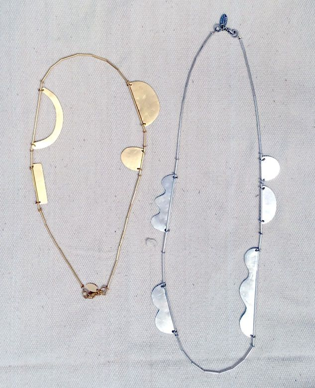 Hammered Shapes Scallop Necklaces
