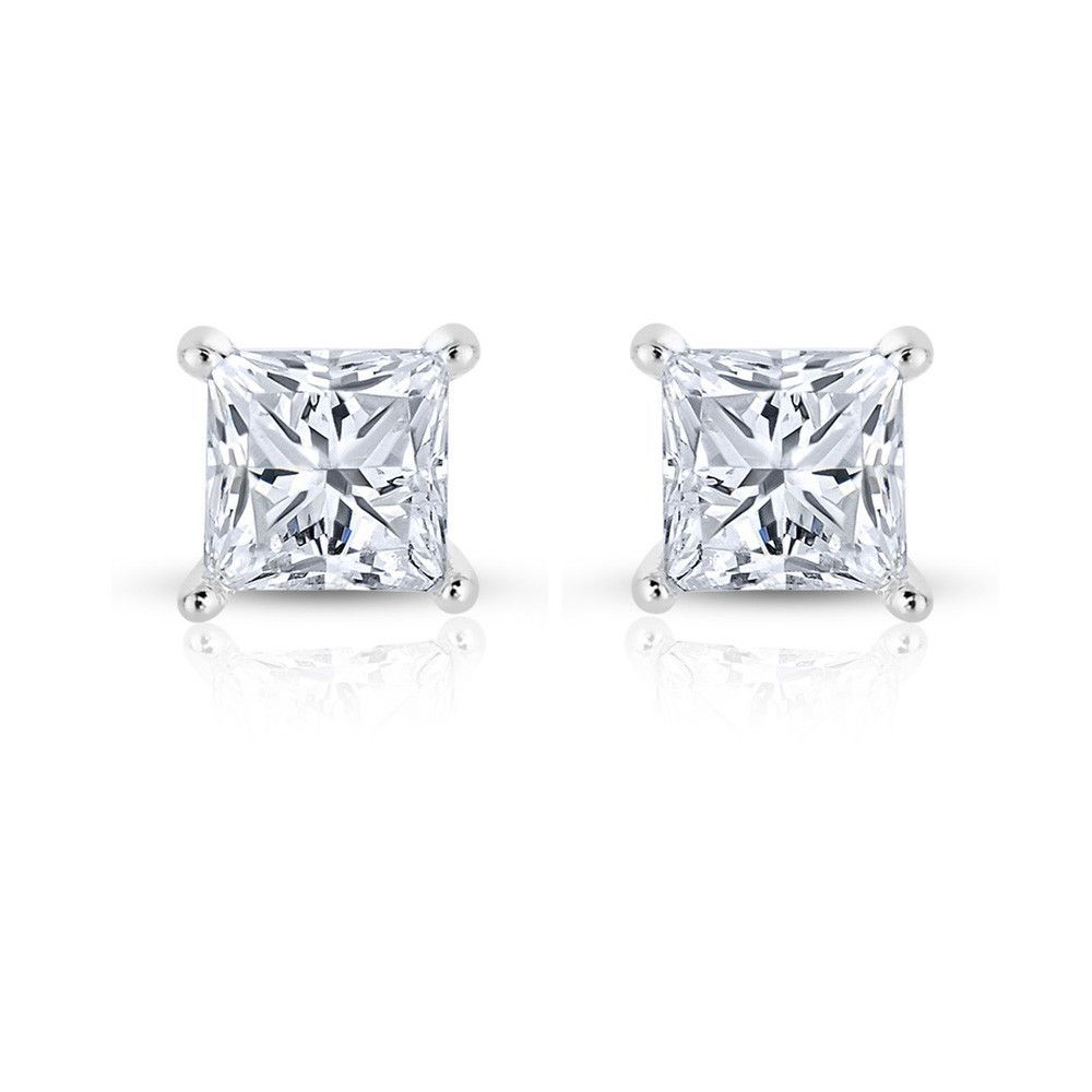 Platinum princesscut diamond stud earrings cttw ij vssi
