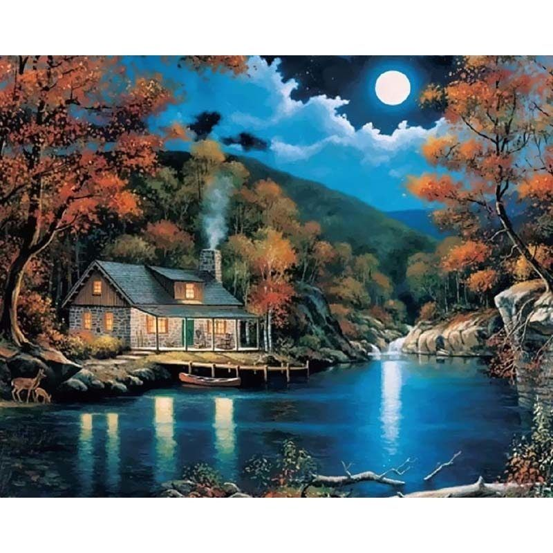 Night Full Moon Scenery Diy Digital Painting By Numbers Modern Wall Art Canvas Painting Christmas Unique Paisajes Vintage Painting Paisajes Hermosos Del Mundo