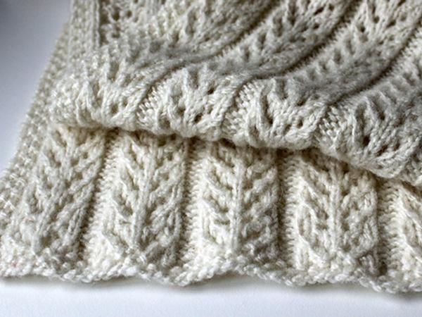 A Simple Lacy Scarf With Five Panels Of Branching Pattern Repeats