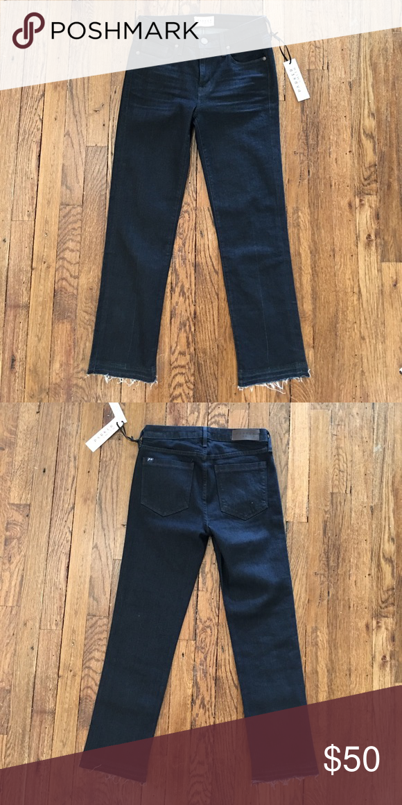 939311a48fcbe6 NEW Parker Smith Dark Straight Leg Crops Sz 26 Parker Smith jeans with a  dark wash, straight leg and frayed raw let out hem. Size 26 and new with  tags.