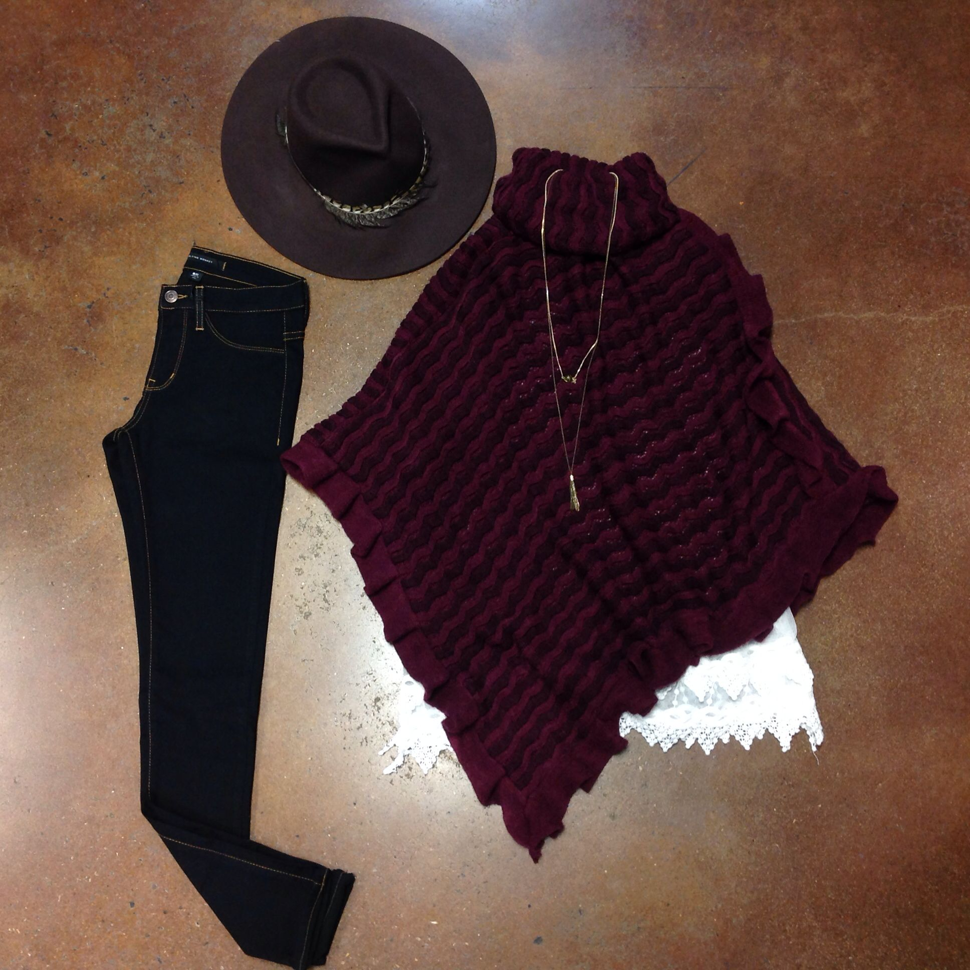 {Ruffles & Lace} Cranberry Ruffle Poncho $44 Ivory Layered Lace Slip $36-Online & In Store Two Tone Layered Chain $16 Dark Wash Jegging #madeinusa $62 Feathered Wool Safari $48 #lace #poncho #feathered #elysianlove #winterstyle  http://www.shopelysian.com/collections/new-items/products/layered-lace-slip