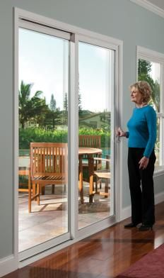 Tuscany Series Sliding Patio Doors Milgard Tan Frame Exterior Interior