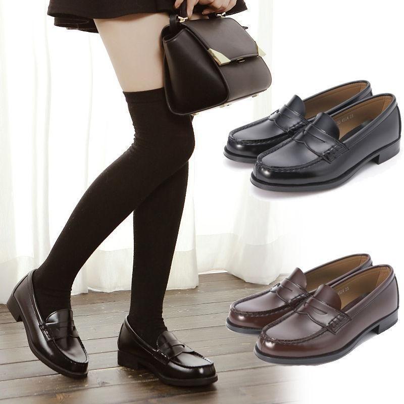 905349d67cd Women Japanese School Student Uniform Soft Leather Flat Low Heel Shoes  Cosplay