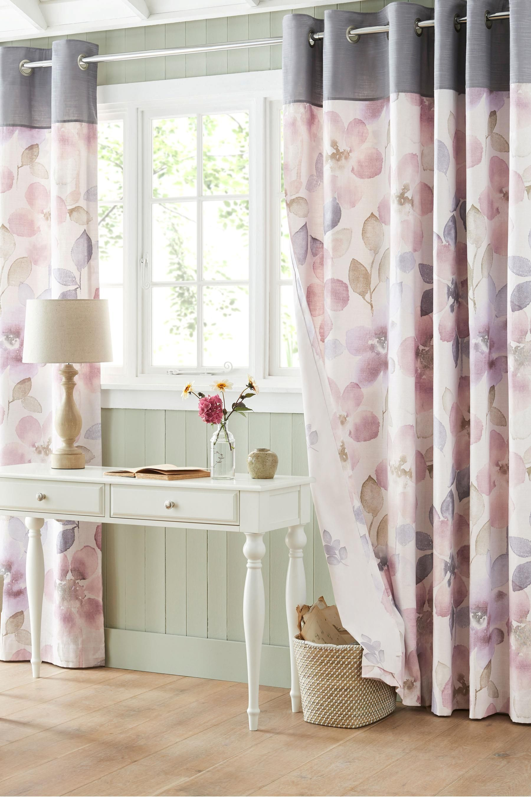 foto de Buy Mauve Watercolour Bloom Eyelet Curtains from the Next