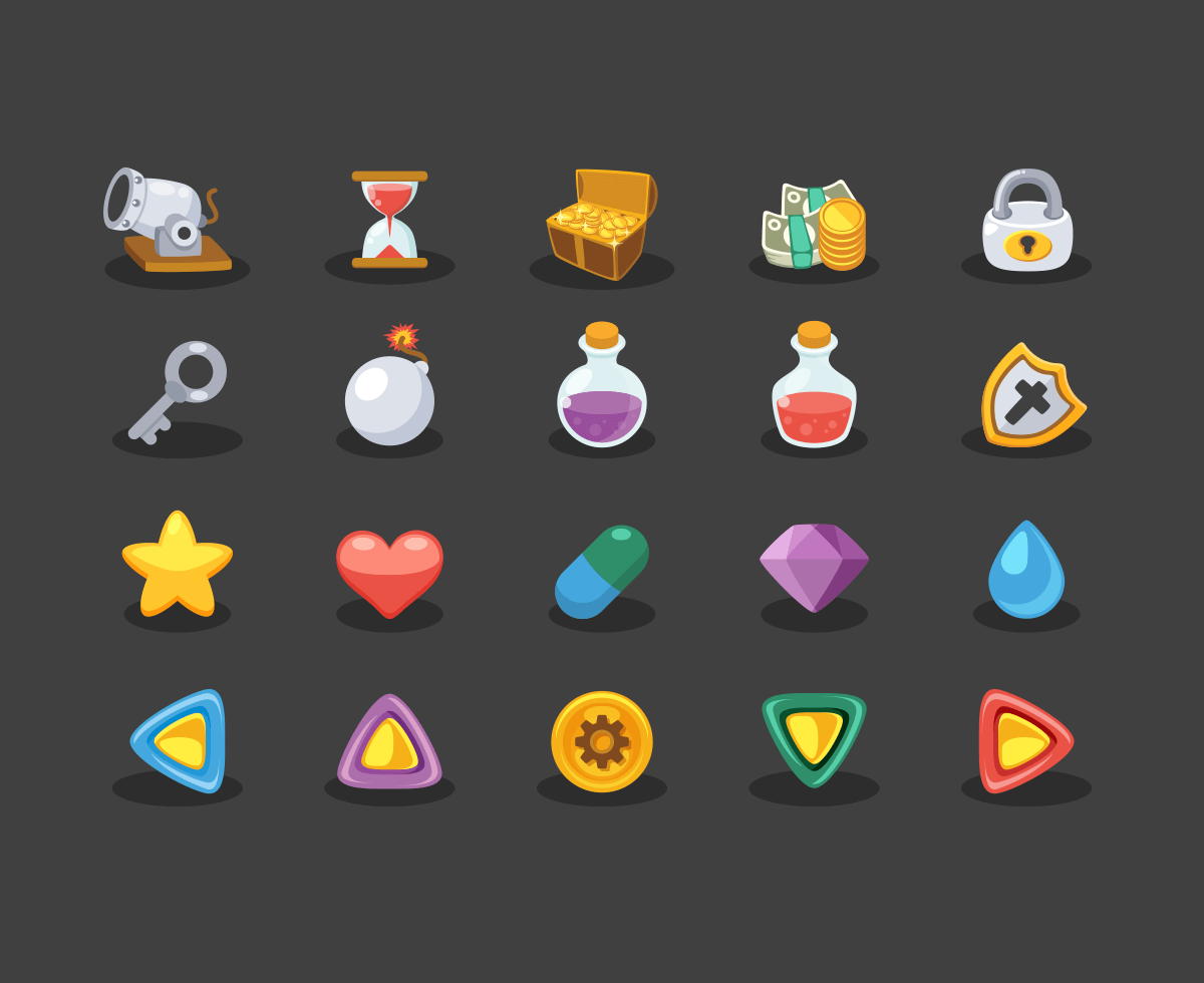 Game Elements Icons | Icons | Game icon, Game ui, Game design