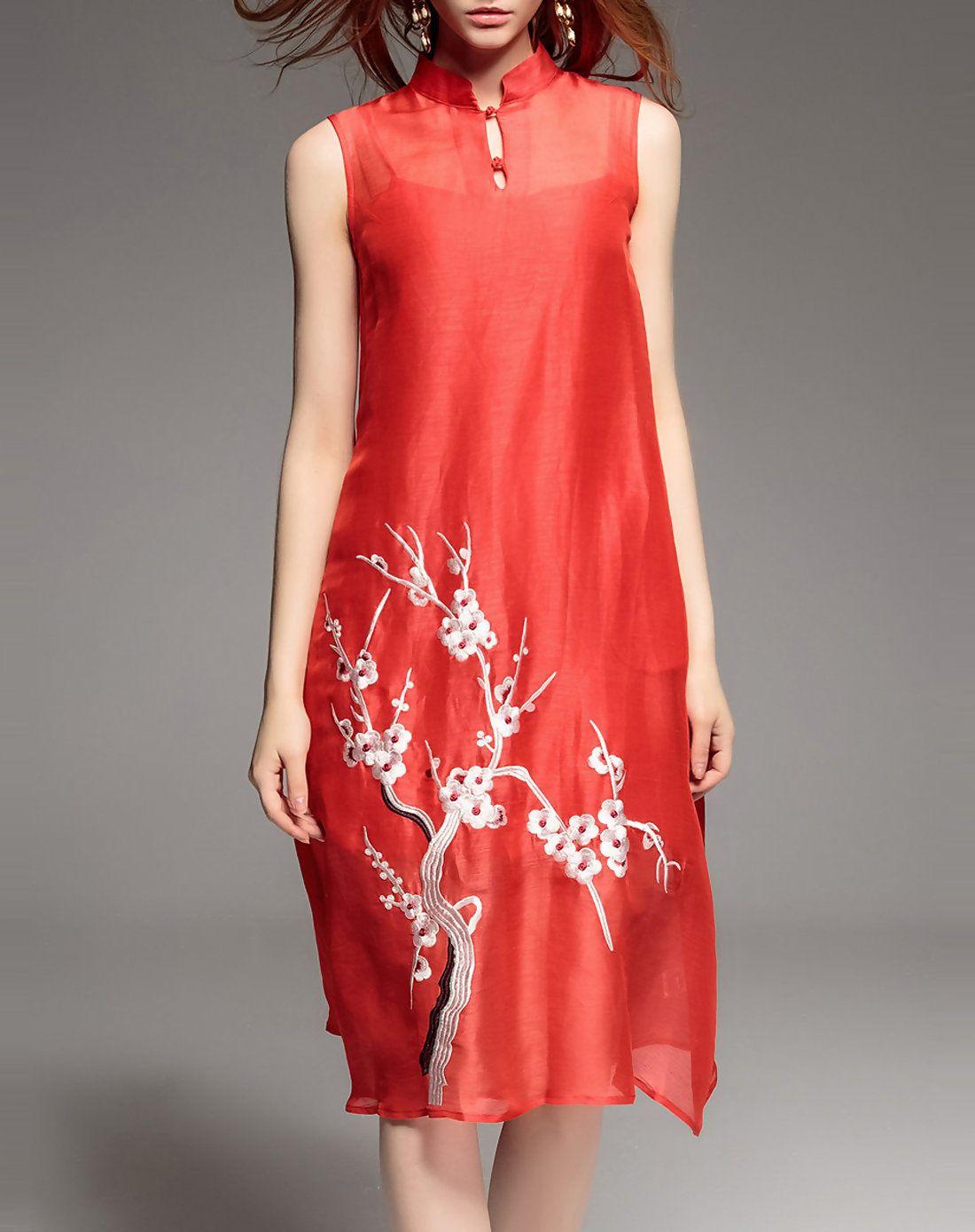 Green dress on pale skin  AdoreWe CHARSU Stunning Red Silk Embroidered Vintage Floral Midi