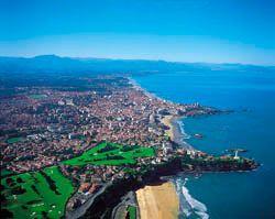 Aerial view of the Basque coast, Pyrénées-Atlantiques