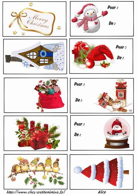 Carte cadeaux à imprimer | Etiquette cadeau noel, Etiquette cadeau
