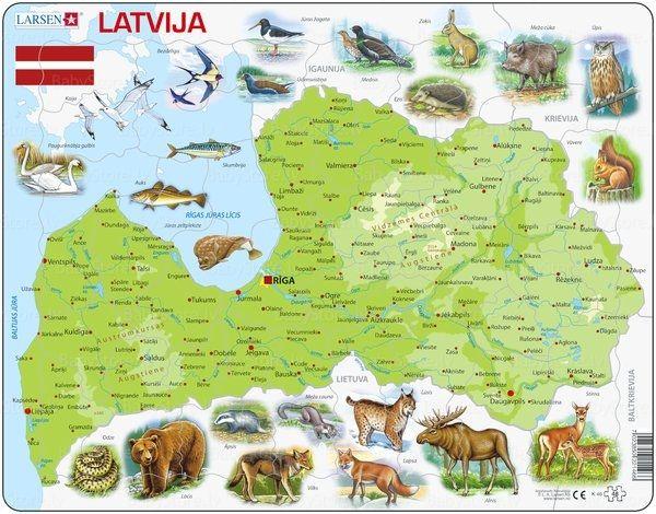 Larsen Puzzle Art K46 Latvijas Karte Ar Dzivniekiem 48 Gb Puzzle