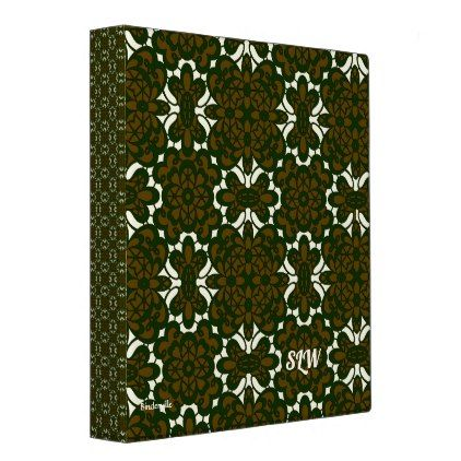 Brown Green Lace Design Monogram Template 3 Ring Binder Monogram