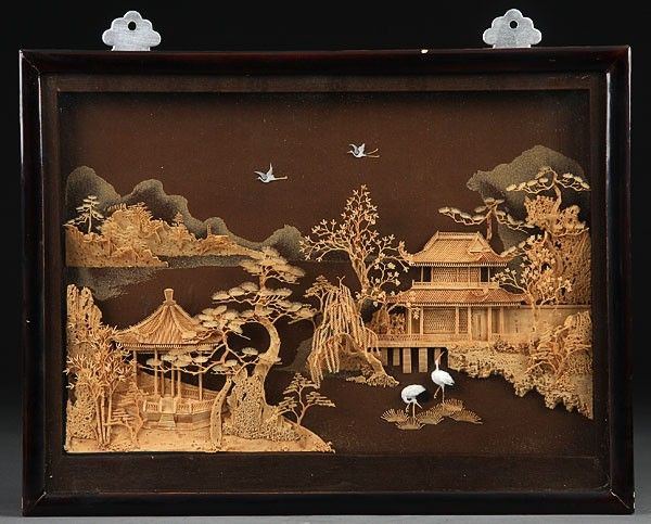 Japanese carved cork and wood diorama mid th