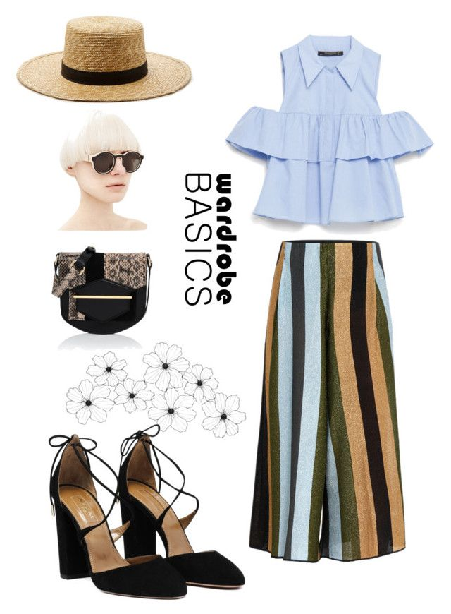 """""""The Basics"""" by tranayc ❤ liked on Polyvore featuring Zara, Circus Hotel, Karl Lagerfeld and Janessa Leone"""
