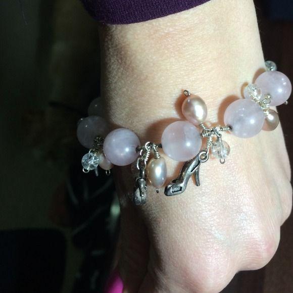 Sterling silver charm bracelet, rose quartz, pearl Sterling silver charm bracelet with sterling silver stiletto heel charms.  Rose quartz, quartz crystal, and mauve fresh water pearls Jewelry Bracelets