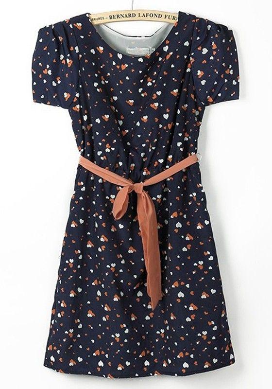 Dark Blue Peach Heart Print Belt Chiffon Dress