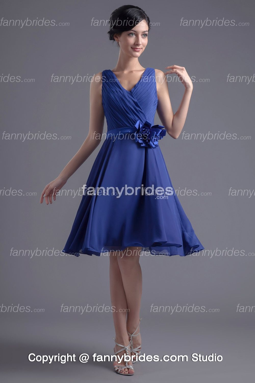 Graceful firstrate vneck royal blue chiffon bridesmaid dress