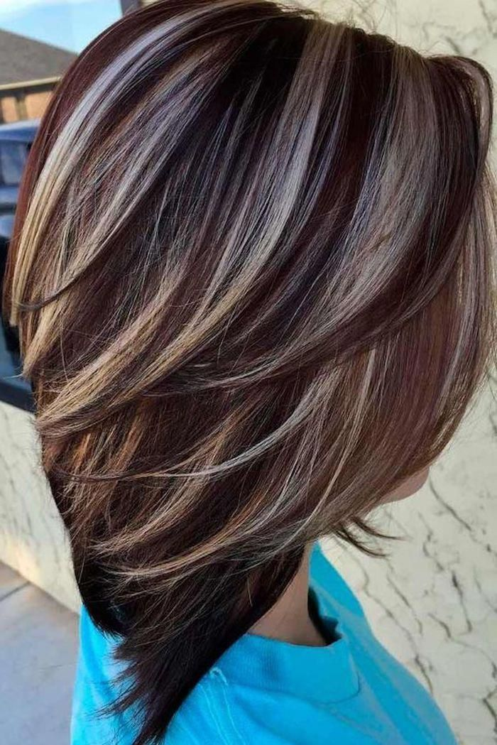 streaked chocolate brown hair with contrasting platinum blonde highlights shou #platinumblondehighlights