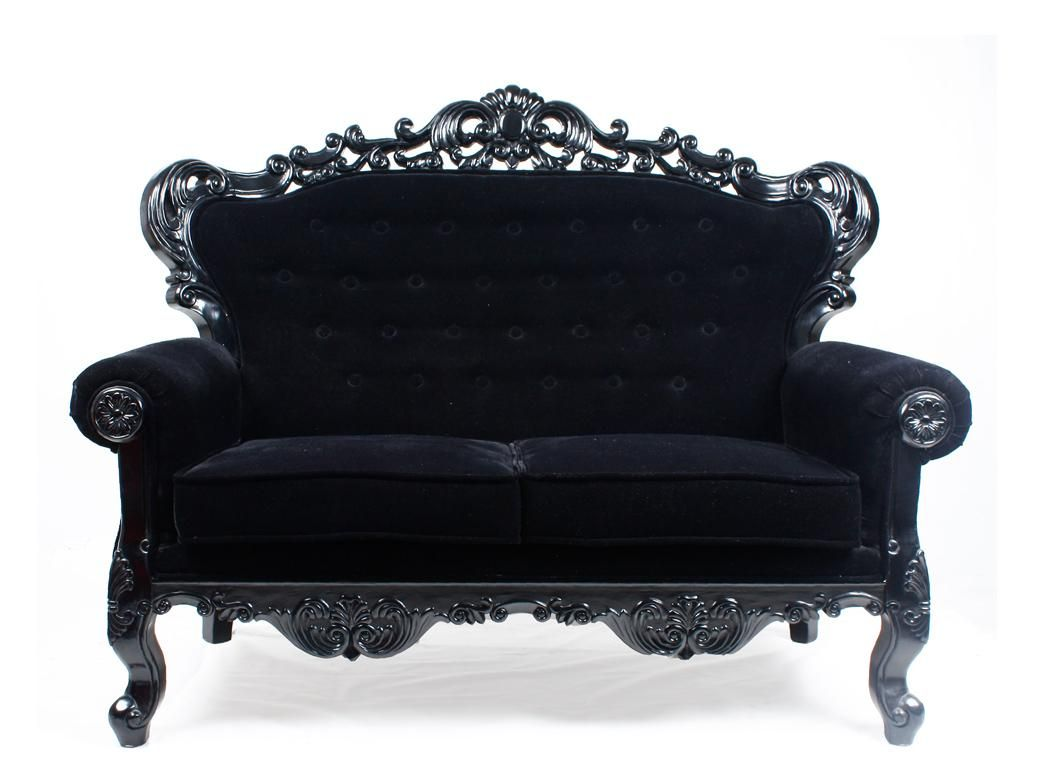 Black velvet sofa in the french baroque style with unique for Sofa barock