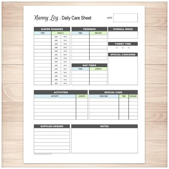 nanny log daily infant care sheet blue green printable