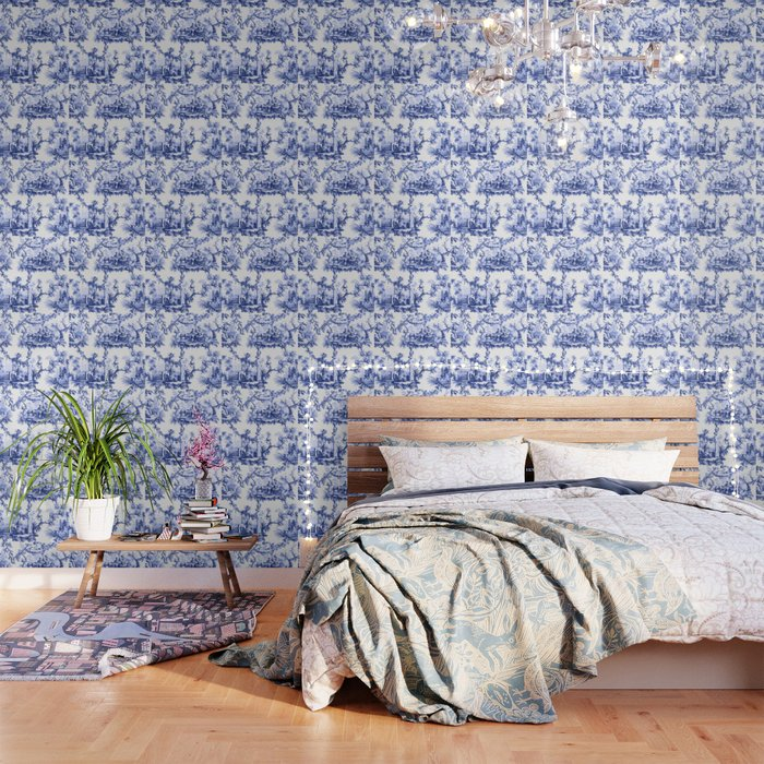 Blue Chinoiserie Toile Wallpaper Blue And White Wallpaper White Wallpaper Blue Wallpapers