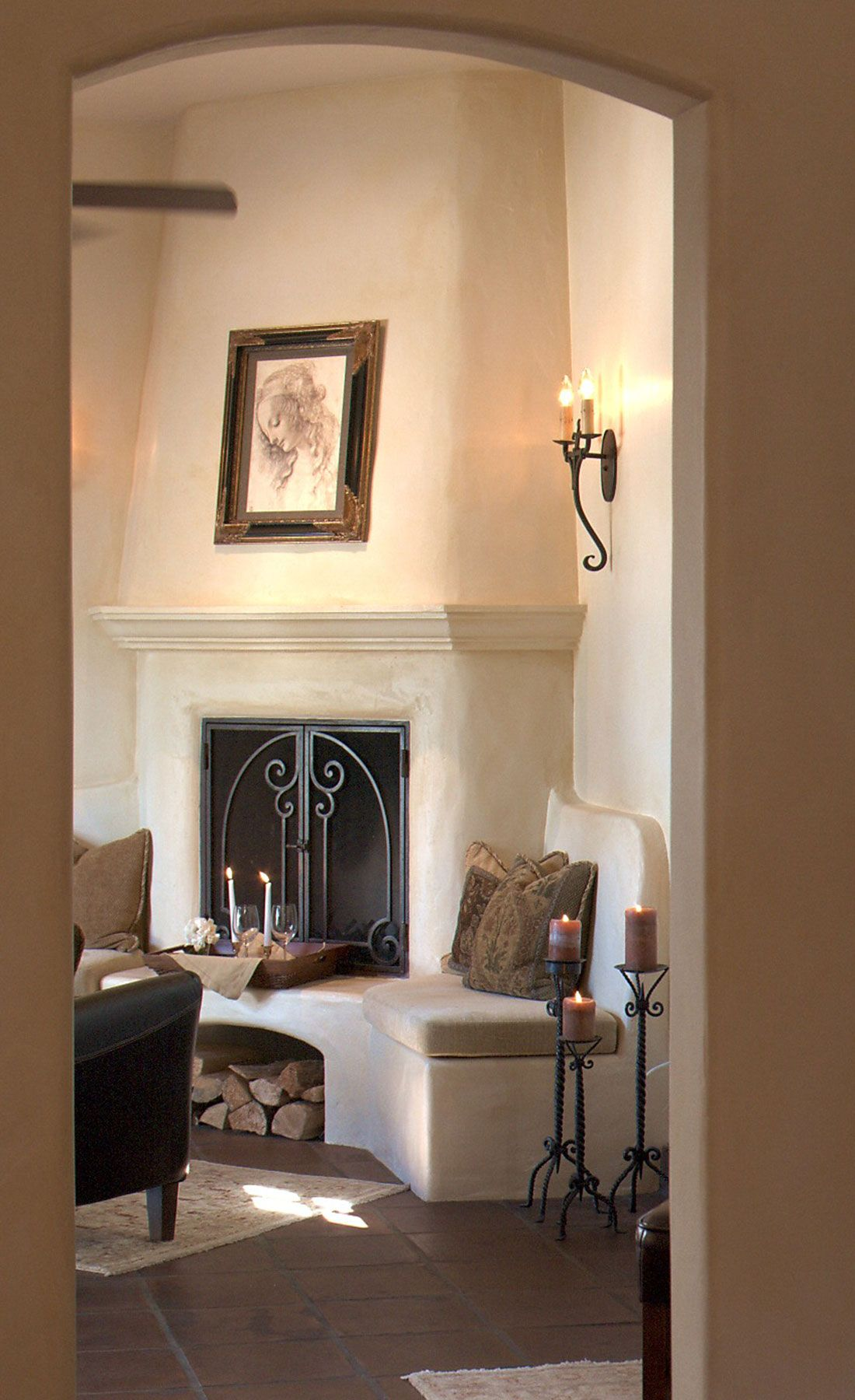 Plaster Fireplace In Spanish Home By Maraya Interior Design With