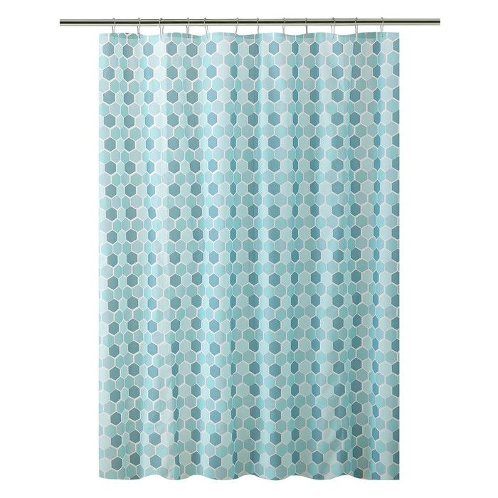 Bath Bliss Peva Hexagon Design Shower Curtain Wayfair Blue