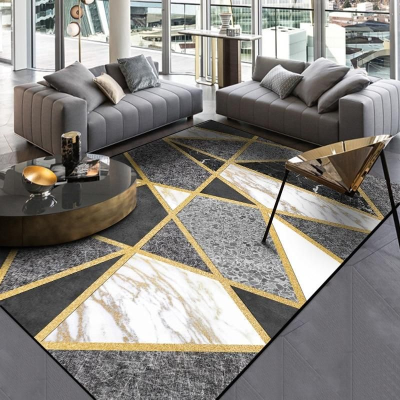 Nordic Style Geometric Gold Grey Carpet Large Size Living Room Bedroom Tea Table Rugs And Ca Black And Gold Living Room Gold Living Room Gold Living Room Decor