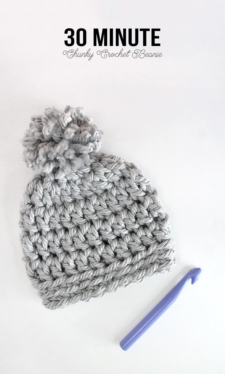 Easy Chunky Crochet Beanie - a 30 minute hat! Free pattern from Persia Lou b1f02819b80