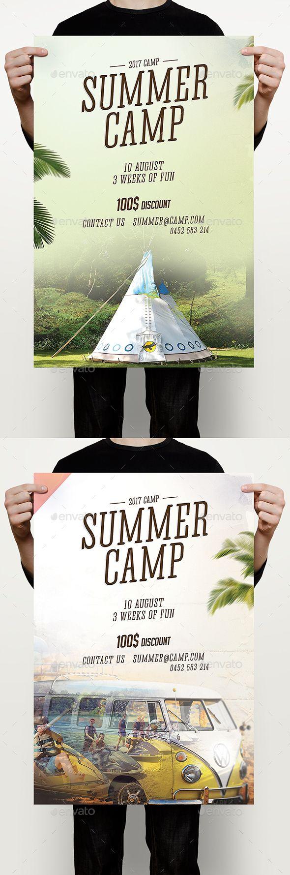 Summer Camp Flyer   Campamento, Diseño editorial y Editorial