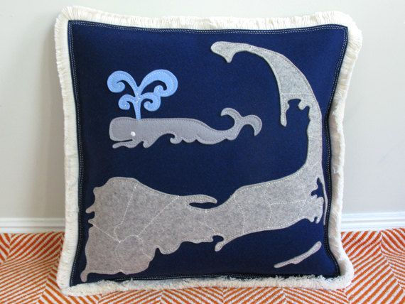 Cape Cod Map Spouting Whale Decorative By CheekyMonkeyHome Magnificent Cape Cod Decorative Pillows