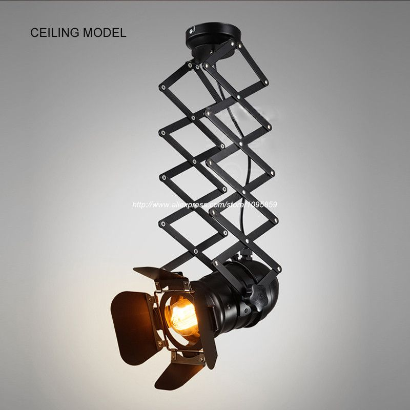 Free shipping retro black metal ceiling lights fixtures living room lifting sport tracking lamps