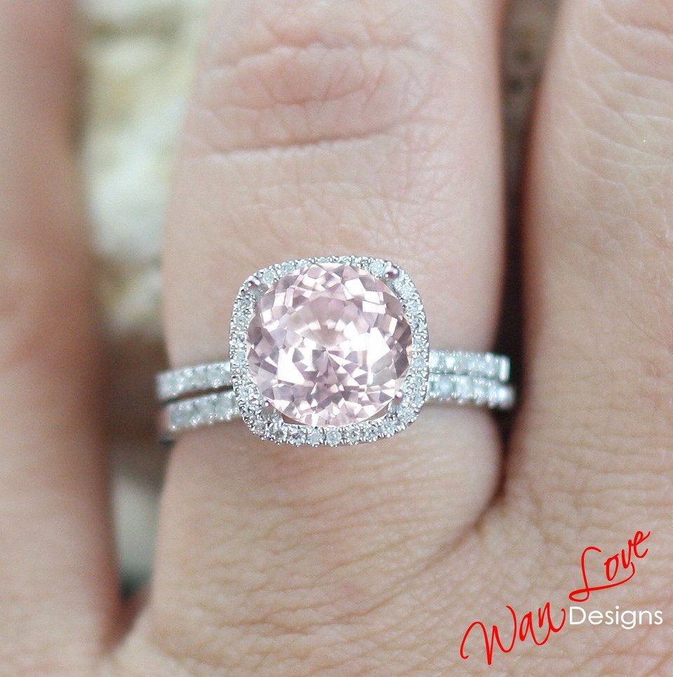 Pink Sapphire Diamond Cushion halo ring band Set by ...