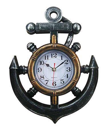 Bronze Anchor Wall Clock Nautical Clocks Wall Clock Nautical Wall Clock