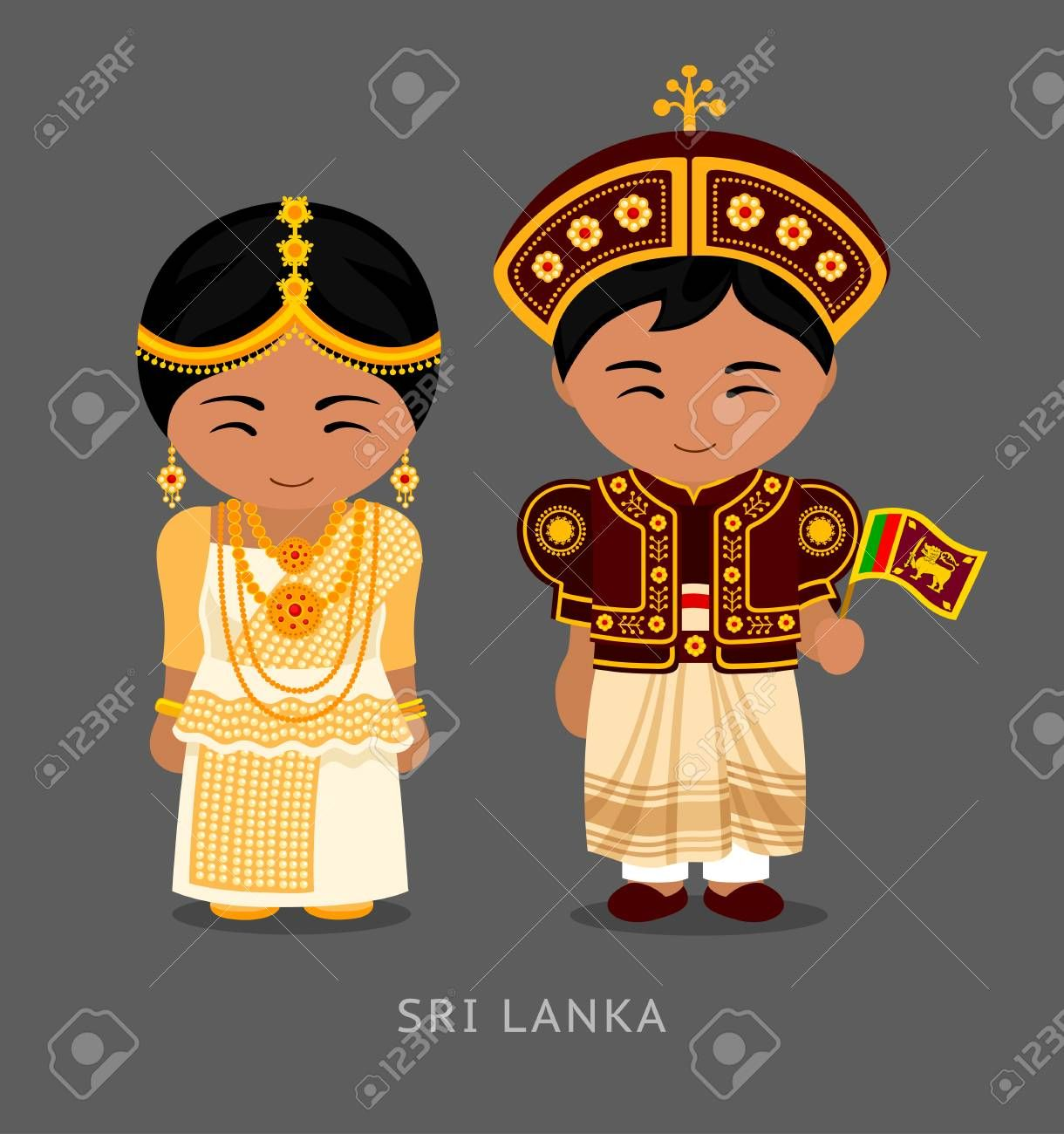 Sri Lankans In National Dress With A Flag Man And Woman In
