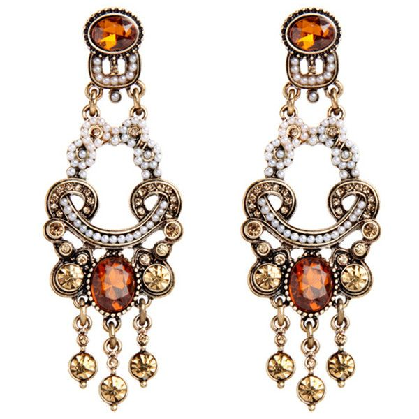 Her Velvet Vase Orange Pearl Earrings 28 Liked On Polyvore Featuring Jewelry Multi Colored Tri Color Jewellery