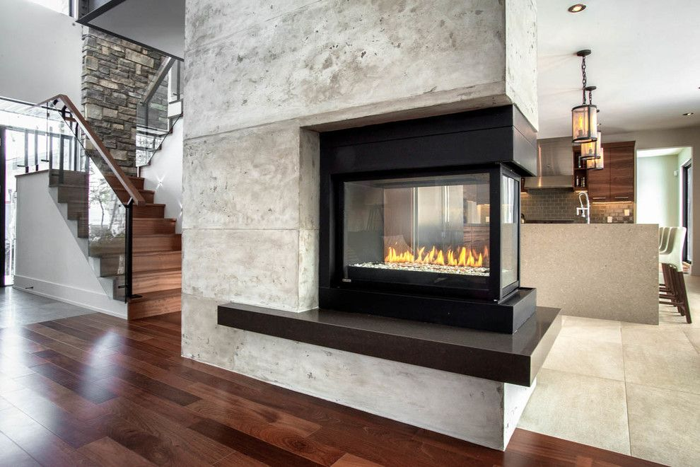 3 Sided Gas Fireplace Family Room Contemporary with 3 Sided ...