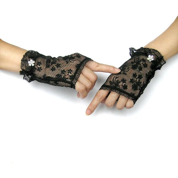 Black Lace Gloves, Fingerless Gloves, Black Gloves, Costume... ($17) ❤ liked on Polyvore featuring accessories, gloves, rhinestone gloves, black fingerless gloves, stretch gloves, black stretch gloves and fingerless gloves