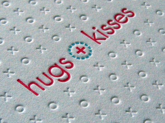 Letterpress Notecard - hugs and kisses