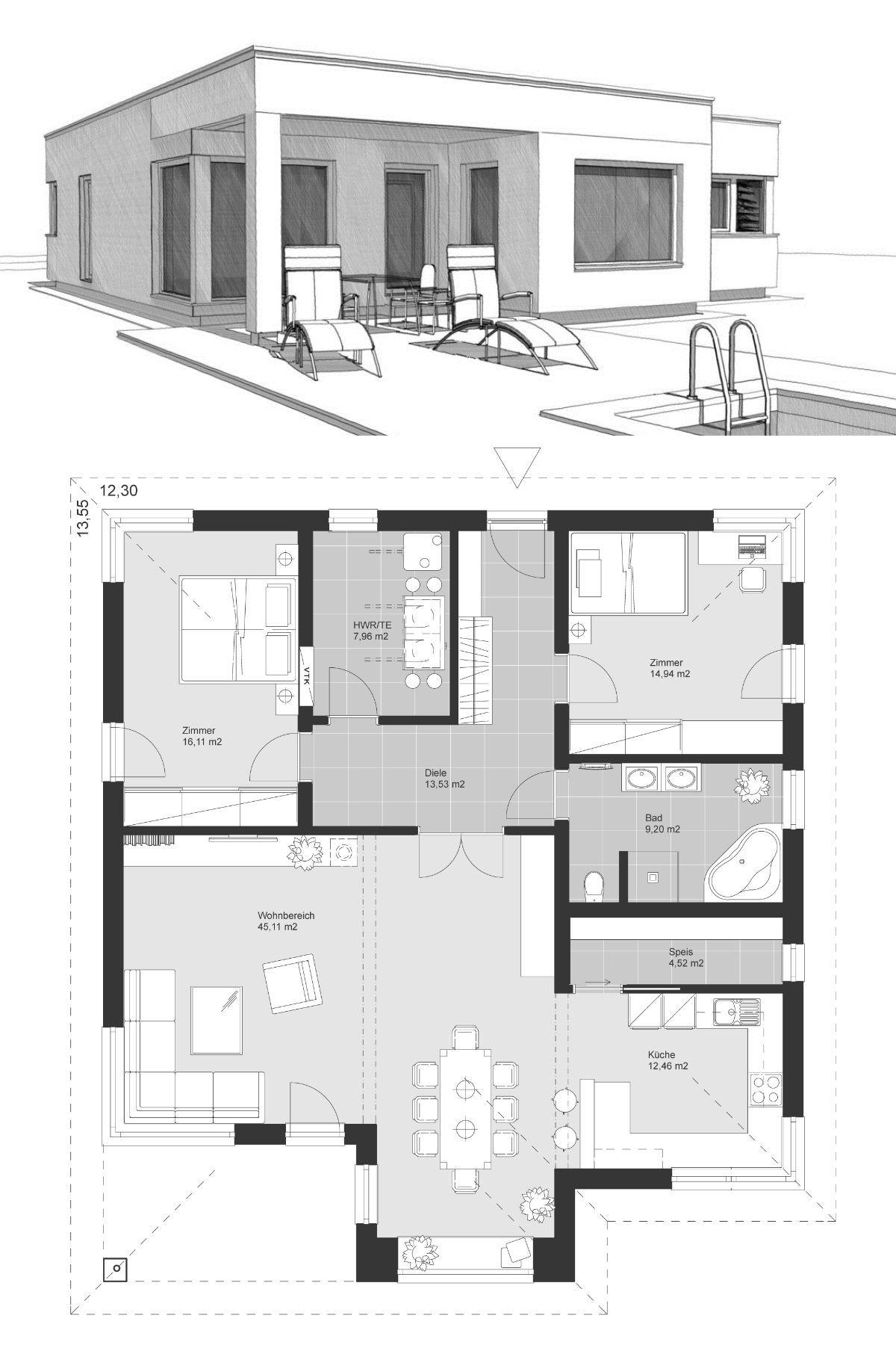Moderner Bungalow mit Flachdach im Bauhausstil & 3 Zimmer