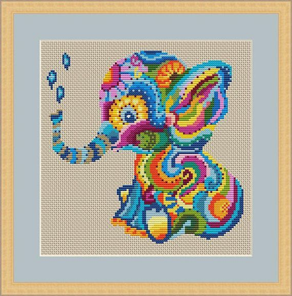MANDALA Elephant cross stitch pattern
