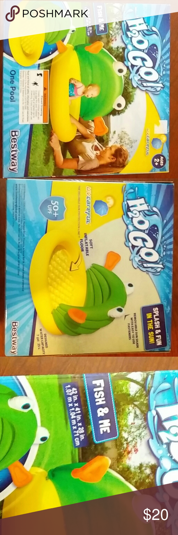 Baby fish pool H2O Go! Fish and Me baby pool. Ages 2+. Pool is 42 in. ? 41 in. ? 28 in. Designed water capacity is 7 gal. (25 L). This is completely brand new. The box has never even been opened, everything is still sealed, and is exactly as I purchased. Feel free to ask any questions and don't be afraid of that offer button! BestWay Swim