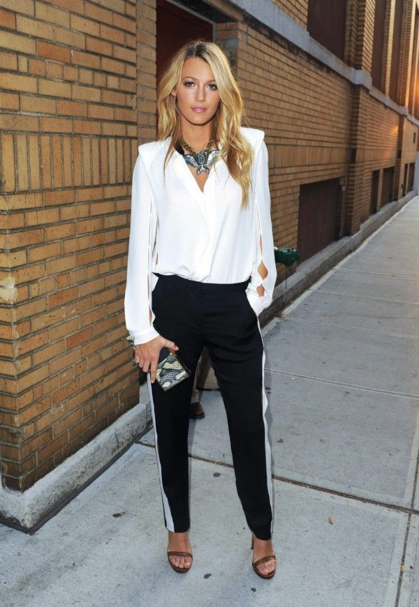 LOVE Blake Lively style here; the statement necklace, the flowy but  structured top, and tuxedo pants.