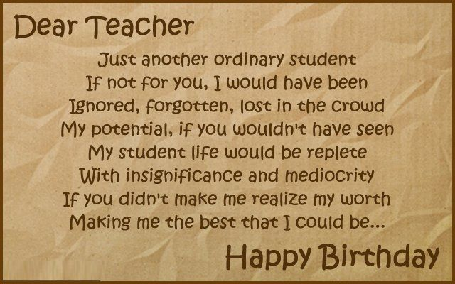 Happy Birthday Wishes To Teacher Birthday For Teacher Happy