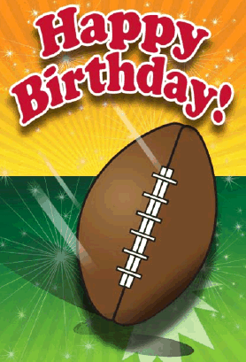 Anyone Who Loves Sports Will Enjoy This Birthday Card Which A Football On A Green And Yellow