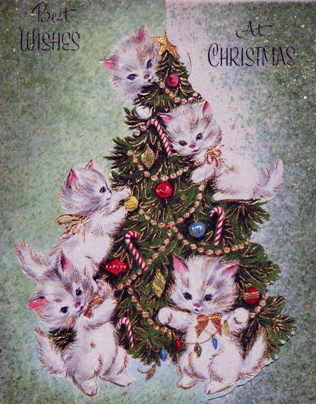 Kitten Christmas Cards.1950s Christmas Card Kittens Christmas Cats Vintage