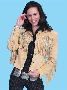 A Scully Ladies' Leather Suede Jacket:Frontier Fringe Chamois XS-XXL