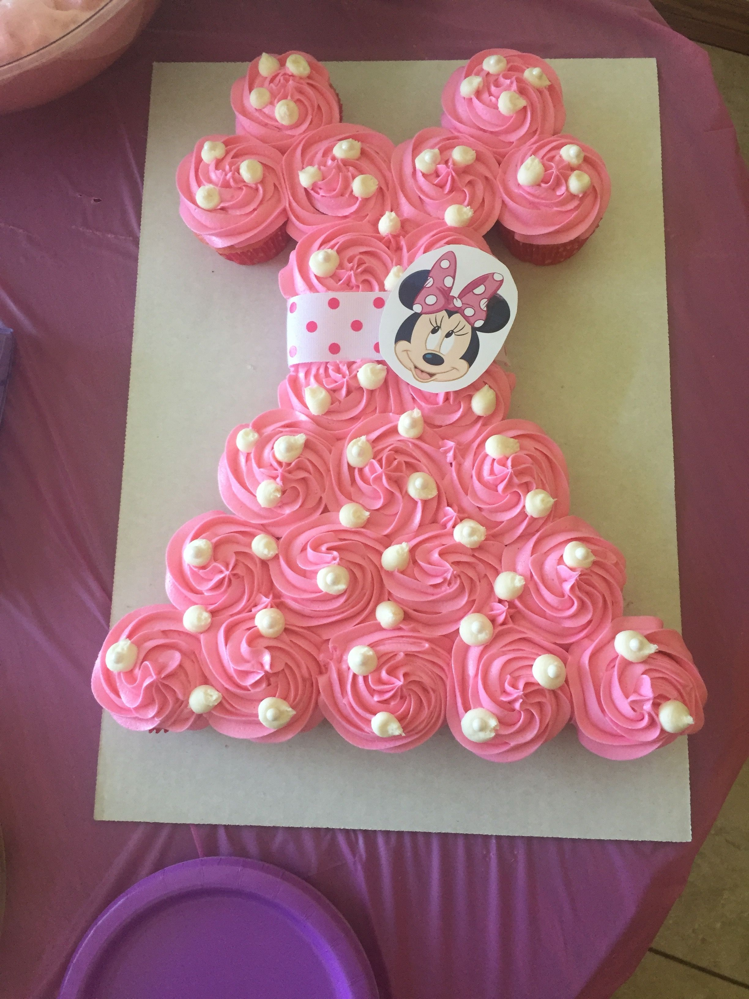 Minnie Mouse Cupcake Cake In 2019 Minnie Mouse Birthday
