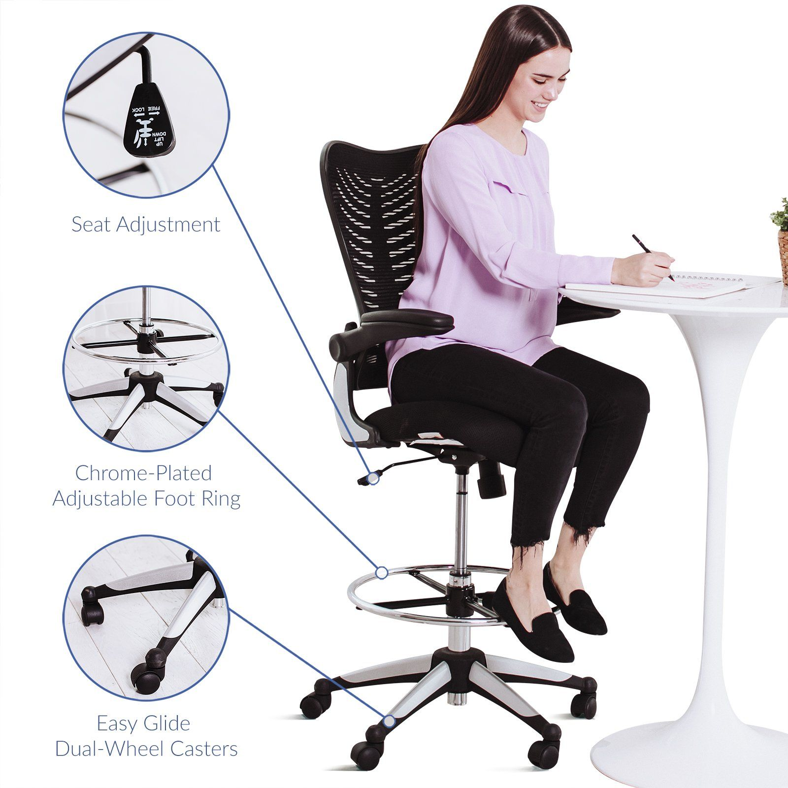 Modway Charge Drafting Chair In Black Reception Desk Chair Tall Office Chair For Adjustable Standing Desks D Reception Desk Chairs Drafting Chair Desk Chair Tall office chairs with arms