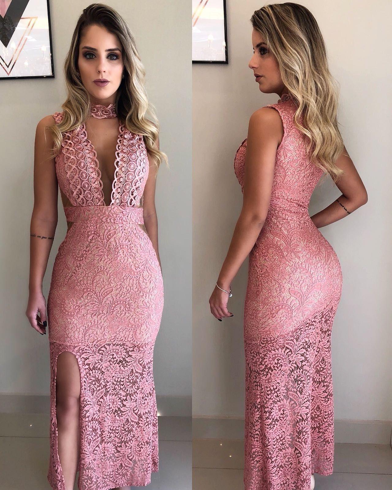 bee73f678 Vestido Longo Na Renda Rose Fundo Nude - Vestidos | Onlauri | moda ...